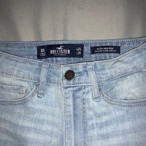 Ultra high rise light wash skinny jeans